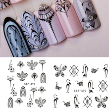 1 Sheet Water Decals Nail Art Transfer Water Stickers Black Jewelry Pattern DIY Manicure Sticker Tips Decorations  BESTZ497-9