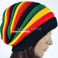 DHL/EMS Free Shipping 50PCS Jamaica Knit Beanie Baggy Slouchy Multi-Coloured Winter Rasta Hat Hip Hop Striped Skullies Cap