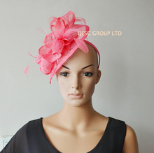 NEW Flamingo pink Sinamay Feather Fascinator Hat for church,wedding and kentucky derby.