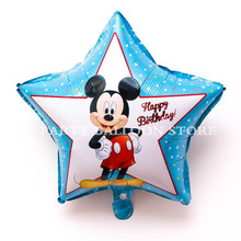 3pcs 18 inch Blue star shaped mickey Helium Foil Balloons Baby 1th happy birthday party decorations supplies globos Ballon stars