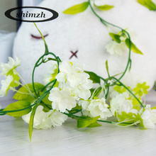 Shimzh Faux Silk Sakura Flowers Girlfriend 5Pcs/Lot Artificial Cherry Blossom Flower Vines Wedding Home Decoration Wedding(China)