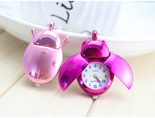 Hot Selling Beetle Animal Ladybug Watch Pocket Watch Women Quartz Watches children Key chain Pocket Clock free shipping(China)