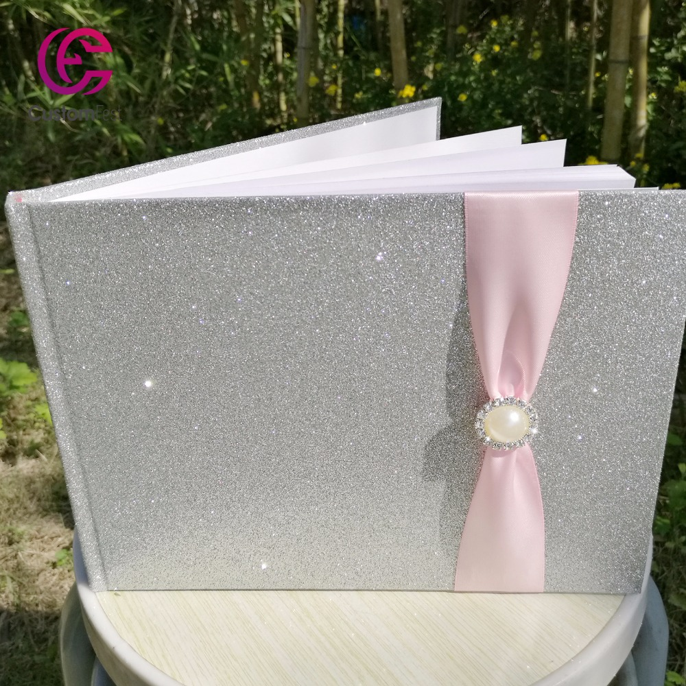 Free shipping Wedding bridal shower birthday glitter cover with satin ribbon and brooch decoration guestbook <br>