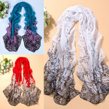 New fashion style Womens Sunflower Dot Printed Chiffon scarf Long Soft Neck Shawl Wraps summer beach Scarves