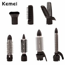KEMEI Hair Styling Brush Comb 7 in1 Brush Hair Air Styler Powerful Blow Dryer Hair Curler Wand Electric Flat Iron Styling Tools(China)