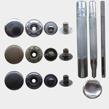 Free shipping 100sets 15mm#831+installation tool four part  brass button spring snap button snap fasteners silver, bronze, black