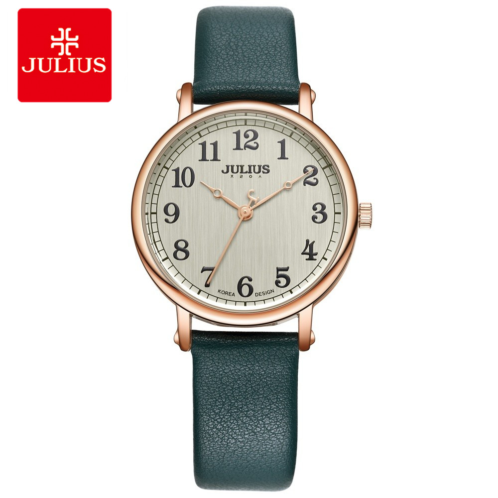 JULIUS Ladies Watches Top Brand Luxury Dark Green Simple Casual Dress Leather Strap Silver Rose Gold Arabic Number Montre JA-949<br>