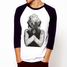 Marilyn Monroe-Gun Tattoo Skull Grafitti Art  Full Sleeve Raglan T Shirt Mens /Womens 100% Cotton Casual Shirt Custom Tee Shirts