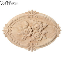 KiWarm Floral Wood Carved Corner Applique Wooden Carving Decal for Furniture Cabinet Door Frame Wall Home Decor Crafts 21x15cm(China)