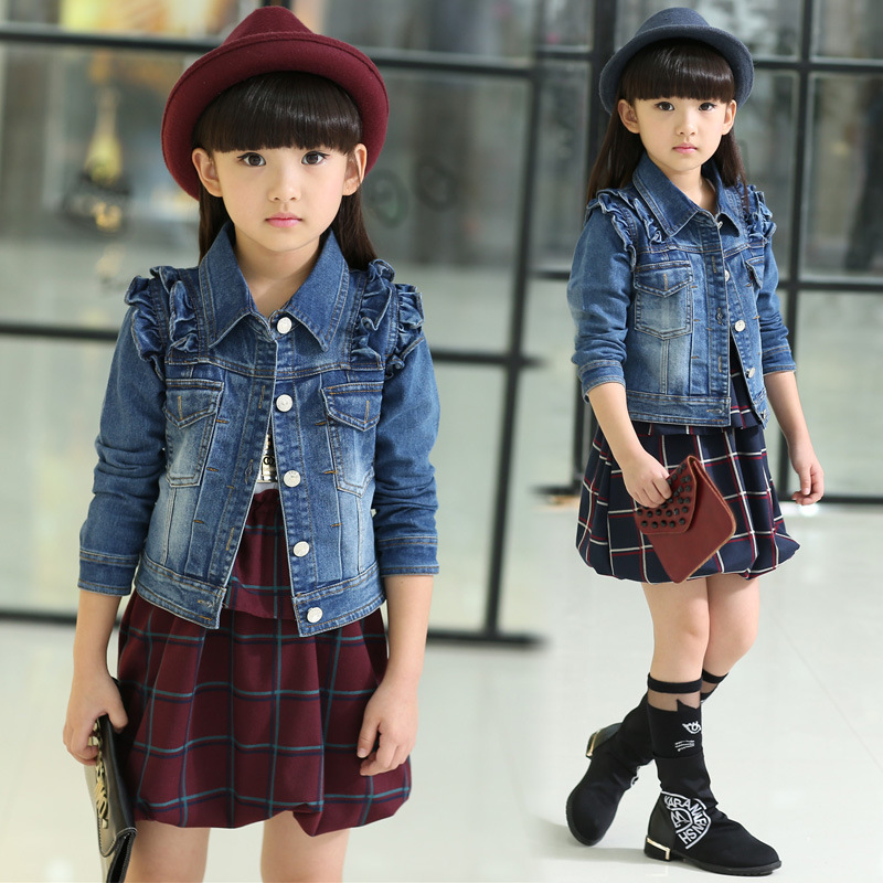 Minnie Mouse Hot Sale Shirt Sleeve New 2017 Wind Coat Cardigan Jean For Girls Spring Trend Style +dress 2pcs Set Kids110-160cm <br><br>Aliexpress