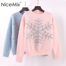 NiceMix 2017 Casual Winter Pullover Sweater Women Christmas Sweater 3D Snowflake Pearl Beading Knitted Sweaters Pull Femme