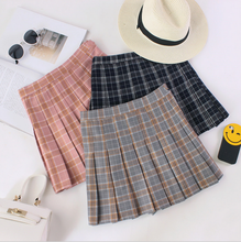 Black Pink Grey School girl Plaid Pleated Mini Skirt Autumn Winter Summer fashion sweet Free shopping(China)