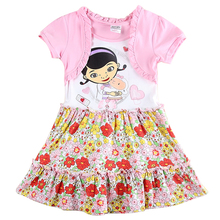Retail children clothes nova kids wear summer style short sleeve cartoon floral fashionable baby girl clothing cheap sale dress