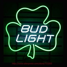 BUD LIGHT LUCKY SHAMROCK Neon Sign Handcrafted Neon Bulbs Real Glass Tube Shops Display Custom Design Neon Lights Impact 17x14