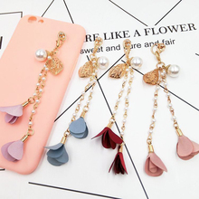 Dower Me Brand Fashion Phone 4 Color Hanging Ornaments Imitation pearl rhinestone stone chain Mobile Phone lanyard Decoration