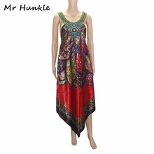 Mr Hunkle Women's African Dress Spaghetti Strap Diamonds Sexy Night Club Vestidos Colorful Loose Summer Dashiki Dresses MH0084(China)