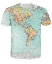 World Map T-Shirt Urban Threads Hipsters retro globe image of the Americas sexy t shirt Short Sleeve Vibrant tees Women Men tops