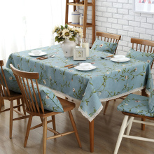 Cotton garden dining linen green rectangle fabric vintage Multisize table cover BLUE round tablecloth LACE floral countryside