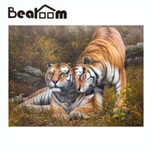 Bearoom Home Decor Tiger Oil Painting DIY Hand Drawing Gift Coloring Wall Picture by Numbers on Canvas Modular Painting No Frame