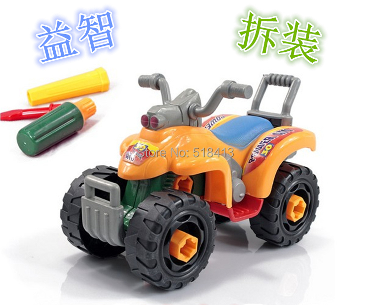 Fancy disassembling motorcycle toy nut combination assembled thinking began to exercise large beach four-wheel motorcycle(China)