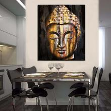 quality Hand painted goldern buddha face painting modern asian bouddha face wall art decors picture for sitting room decoration