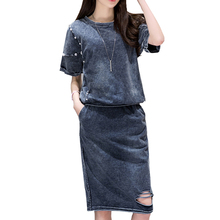 2017 Summer Women's Tracksuit Denim Midi Skirt Beading Jeans T-shirts + Skirts Two-piece Set Short sleeves Hole Suits cropped