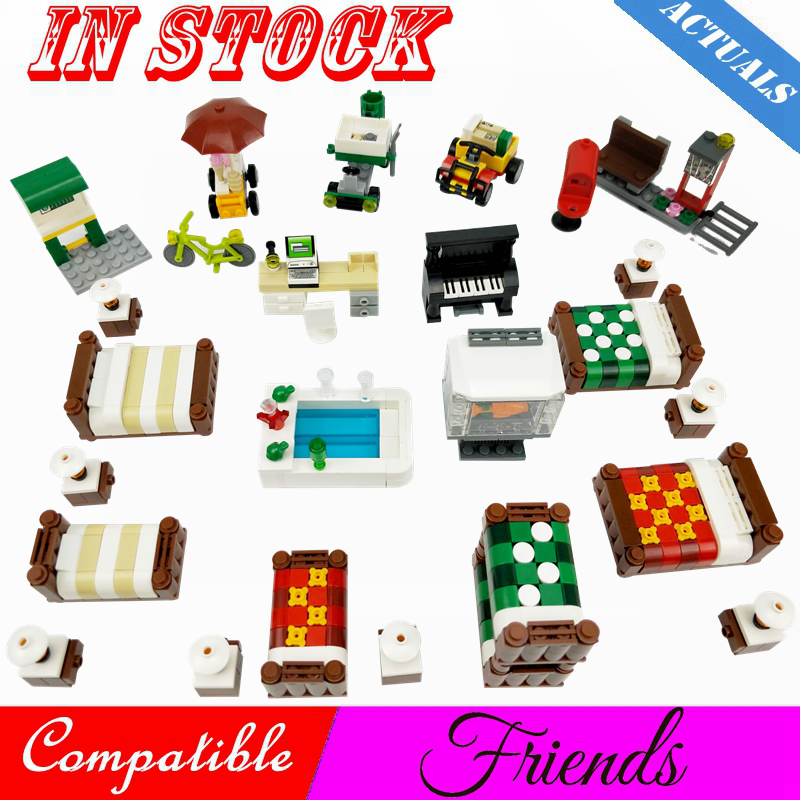 Creator Friends Heartlake House Room Double Bed Sofa Piano Desk Scenes Figures Building Blocks MOC Accessories Parts Toys Friend