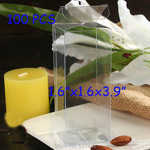 Free Shipping 100PCS Plastic Transparent PVC Boxes Clear Wedding Party Supplies Cosmetic Food Toy Gift Packaging Boxes 4x4x10cm