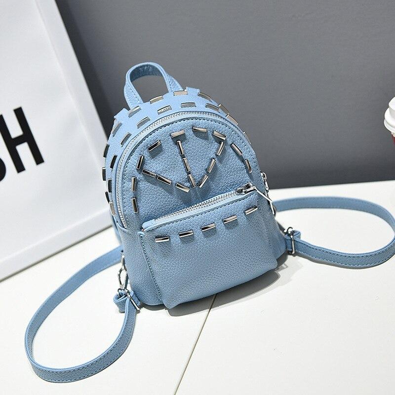 Cute Backpack For Girls Student Lovely Blue Rivet Small Backpacks Female Korean Stylish Causal Mini Bag Wholesale Bags For Gift<br><br>Aliexpress