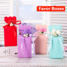 2017 New Romantic Candy Boxes with Plastic Flowers and Ribbon Paper Candy Boxes Chocolate Wedding Favor Party Gift 10pcs/lot