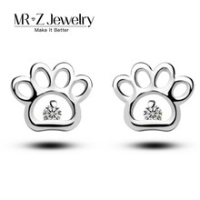 2017 Zircon Cute Cat Dog Paw Prints Silver 925 Stud Earrings For Women Fashion Animal Jewelry Supplier (Support Drop Shipping)(China)