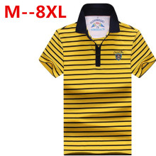 plus size 10XL 9XL 8XL 7XL 6XL Men Polo Shirt Short Sleeve 100% Cotton Striped Polo Business Casual Men Performance Polo Shirts