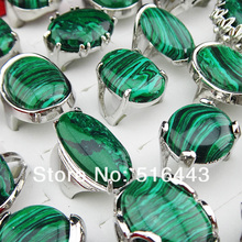 5pcs Charms Vintage Natural Malachite Stones Silver P Womens Mens Retro Rings Wholesale Jewelry Lots A-895