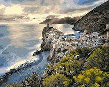 MaHuaf-590 Vernazza Italy landscape Paintings by numbers with acrylic paints for living room decor(China)