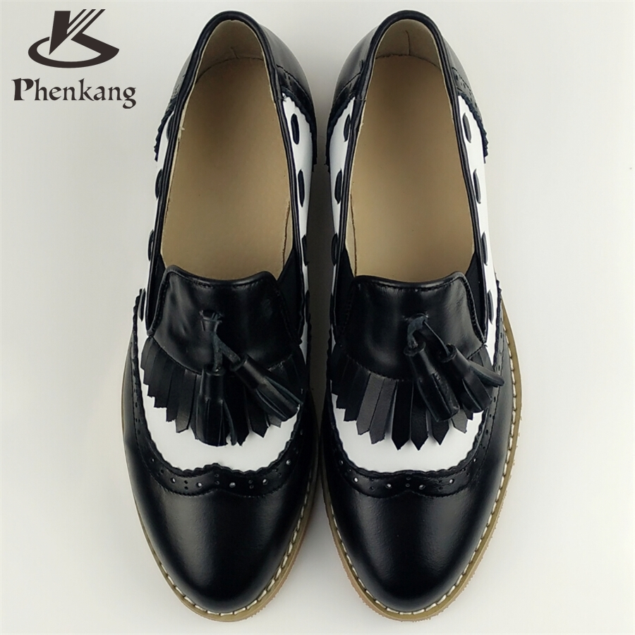 Genuine leather woman big US size 9 designer vintage flat round toe handmade blue black red 2017 oxford shoes for women with fur<br><br>Aliexpress