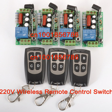 220V 1CH 10A wireless Power Switch System 4 Receiver&3Transmitter output state is adjusted 1CH 1000W Remote Control Light