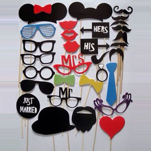 Photo Booth Props 31 Pcs/Set Photobooth For Wedding Birthday Party Photo Booth Props Glasses Mustache Lip On A Stick