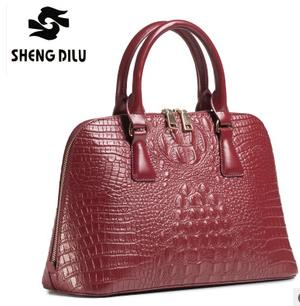 High Quality 100% Genuine Leather Bags Elegant Crocodile Pattern Bag Female Cowhide Bags Fashion Womens Handbags<br>