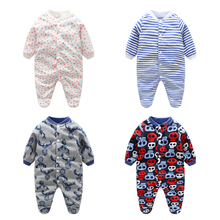 Children Pajamas Baby Rompers Newborn Baby Rompers Long Sleeve Underwear Polar Fleece Pajamas Boys Girls Autumn Winter Rompers