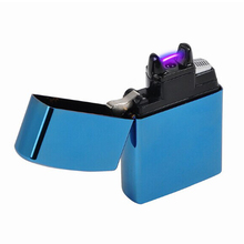 2015 Male gift Arc Lighters metal USB Rechargeable Flameless Electric Arc Windproof Cigar Cigarette Lighter ( BLUE )