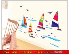 Dream Sailboat Wall Stickers Ship Boats Sea Ocean Wall Paper Kids Room Decoration Home Decal Nursery Wall Stickers Mural Art