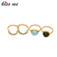 KISS ME 4PCS/Set Alloy Gold Color Rings for Women New Design Vintage Jewelry Accessories Finger Rings