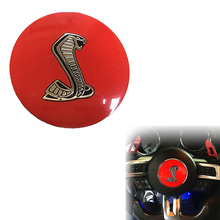 "3.35"" Red Cobra Symbol Car Auto Decorative Steering Wheel Center Badge Decal Sticker for Ford Mustang Shelby (0334)"