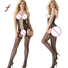 Buy feitong Women Hollow Lingerie Open Crotch Bodystockings Perspective Bodysuit Underwear Sexy Ladies Girls Ultra-thin Lingerie