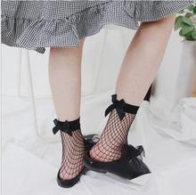 2017 Bow tie Harajuku goth punk series cool female essential hollow thin black fishnet short socks women sexy socks(China)