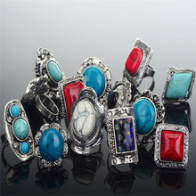5pcs/lot Mix Styles Retro Women's Silver Big Natural Stone Stone Wide Ring Vintage Unisex Fashion Jewelry
