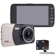 4.0 Inch IPS Screen Car DVR Car Camera Dash car Camera Full HD 1080P Video 170 Degree Dash Cam Dual Lens Reversing video camera(China)