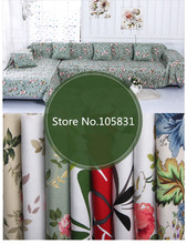 Cotton Flower Printed Canvas Fabric for DIY Tablecloth / Curtain / Pillow Cover / Sofa Cover Fabric Material by Meter 59'' wide