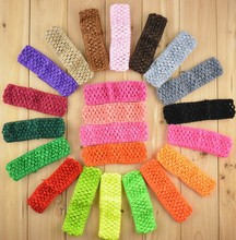 "1.5""  girl Top TuTu crochet headband Stretch Elastic Headbands"