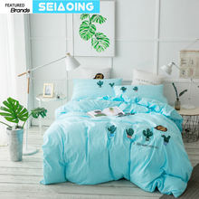 cactus bedding set queen king size 3d luxury quilt cover 4/5pc applique embroidery plants bed linens blue girl gift sheets doona